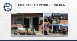 Aseguran cuatro vehículos robados tras cateo en San Pedro Cholula