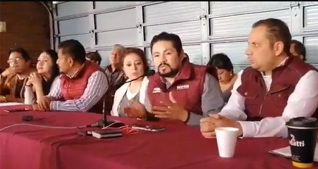 Militantes de Morena en Puebla piden unidad y respaldar a Ramírez