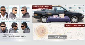 SCC detienen a 2 por asalto a OXXO en Bosques de San Sebastián