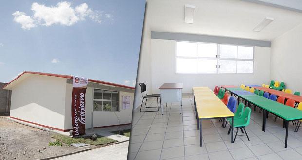 San Andrés Cholula entrega dos aulas didácticas para preescolar