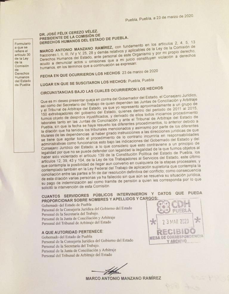 Exburócratas de Puebla presentan queja en CDH por dilación de 150 casos
