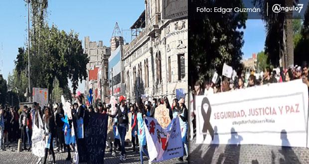 Miles de estudiantes marchan en Puebla, exigen justicia y parar inseguridad