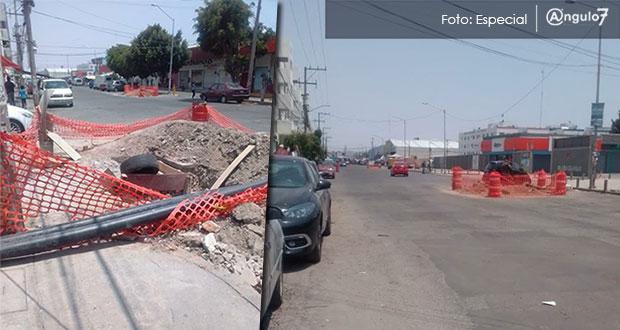 Vecinos de 3 Cruces rechazan que Agua de Puebla siga obra por no consultarlos
