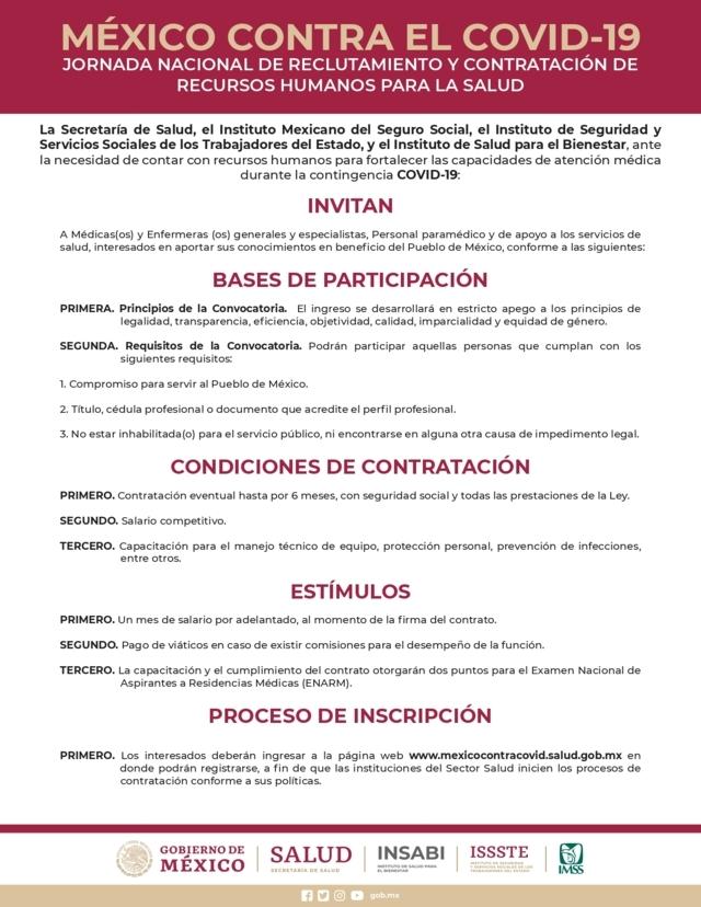 Gobierno convoca a reclutamiento de personal médico contra Covid-19