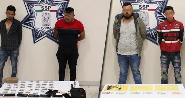 Caen cuatro 4 presuntos narcomenudistas que operaban en Puebla