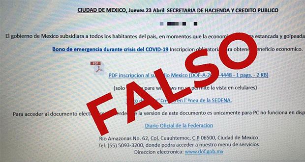 """¡Cuidado! Circula registro falso para recibir """"bono"""" de emergencia"""