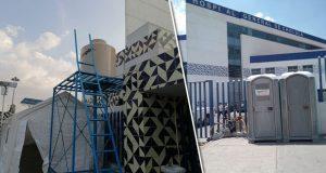 Colocan carpas sanitizadoras en Hospital de Cholula para Covid-19