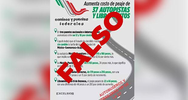 Circula falso aumento de peaje en la México-Puebla y más autopistas. Foto: Especial