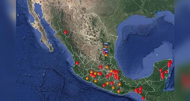 Ascienden a 52 incendios forestales activos; 15 fueron liquidados