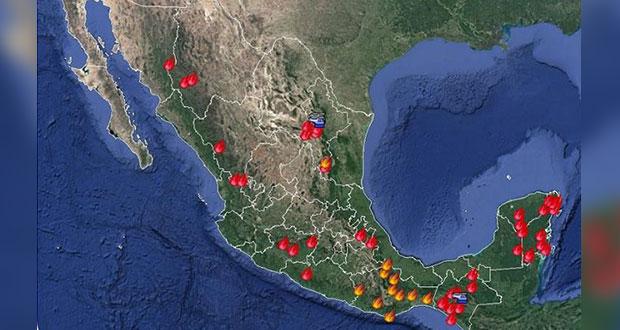 Se elevan a 53 los incendios forestales activos en 16 entidades