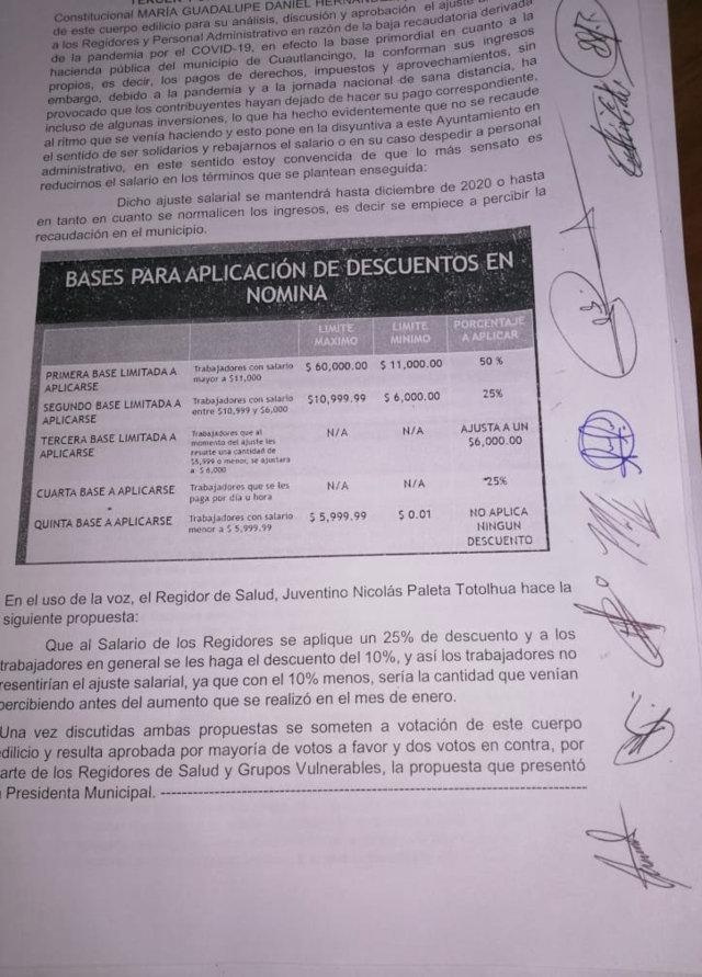 Regidores de Cuautlancigo buscarán revertir acuerdo de recorte salarial