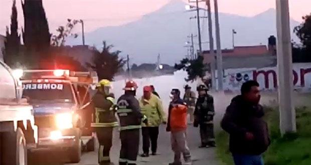 Atienden fuga de gas en Amozoc causada por presunto huachicoleo