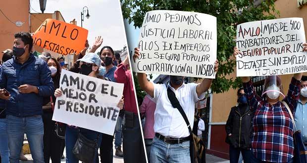 En San Pedro Cholula, se reúnen para apoyar y protestar contra AMLO