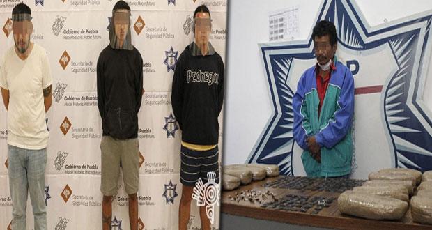 """SSP detiene a supuesto miembro de """"Los Rojos"""" y a 3 narcomenudistas"""
