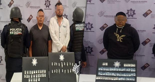 SSP detiene en Tehuacán a tres presuntos narcomenudistas
