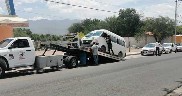 En tres días, SMT asegura 14 unidades de transporte irregulares