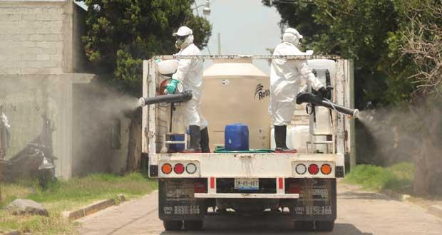 Ayuntamiento de San Andrés Cholula sanitiza áreas en Acatepec