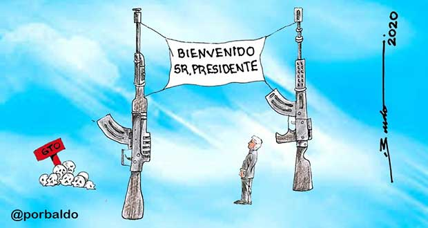 Caricatura: Así recibe Guanajuato a AMLO
