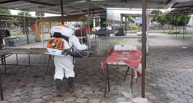 Comuna de San Andrés Cholula sanitiza espacios públicos de Comac