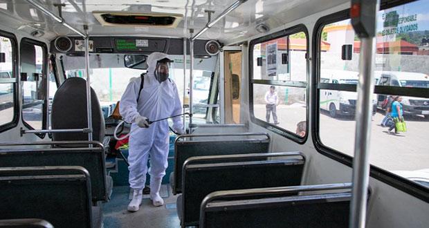 SMT verifica limpieza en unidades del transporte público de Zacatlán