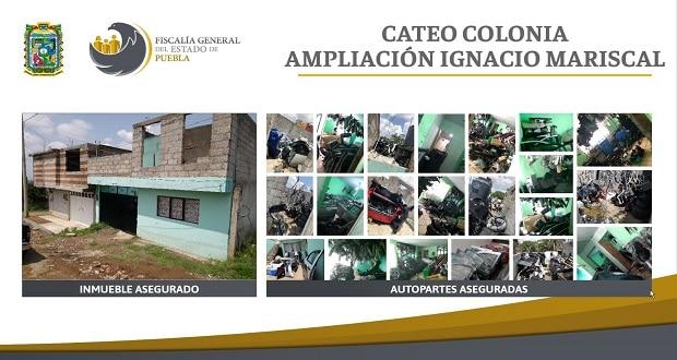 Fiscalía de Puebla catea inmueble con más de 290 autopartes ilícitas