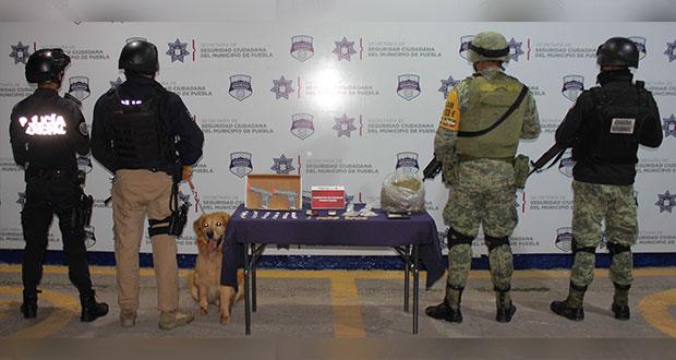Sedena y SSC de Puebla aseguran droga cerca del mercado Unión