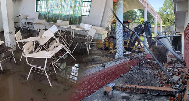 Desbordamiento del Alseseca causa daños en escuelas y viviendas