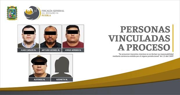 Vinculan a proceso a 5 personas por secuestro y extorsión en Puebla