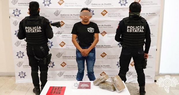 Detienen a presunto narcomenudista; traía droga de Hidalgo a Puebla
