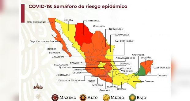 Puebla seguirá en semáforo amarillo de Covid-19 dos semanas más; suma 6: SSA