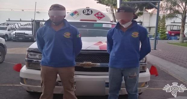 """Detiene SSP a dos presuntos """"huachigaseros"""" por San Miguel Espejo"""