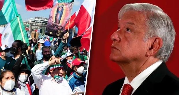 Ante protesta de Frena, AMLO reitera solución por vía democrática