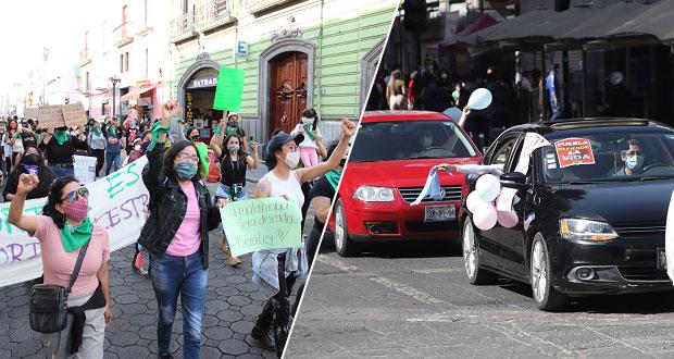 Dos marchas en la ciudad de Puebla: a favor y en contra del aborto