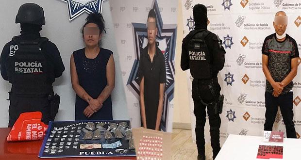 Detienen a 3 involucrados en bandas de narcomenudistas en Puebla