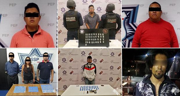 Detienen a 2 huachigaseros y a 5 narcomenudistas en Puebla