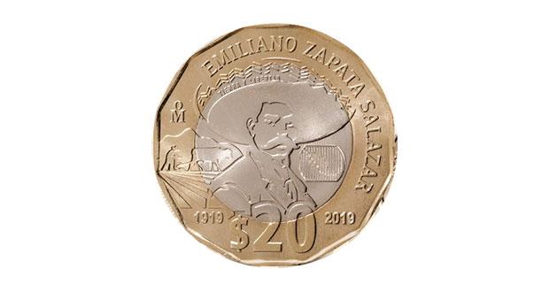 Con monedas de 20 pesos conmemoran muerte de Emiliano Zapata