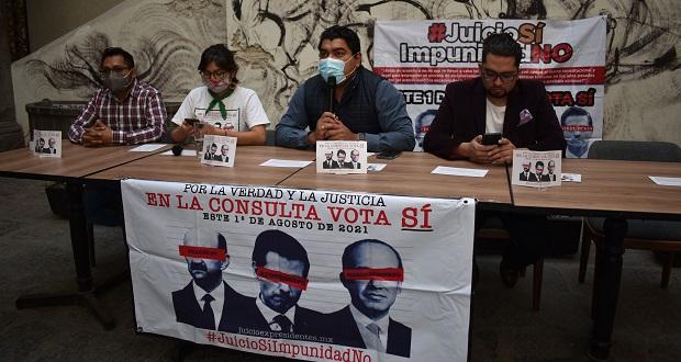 En Puebla, piden participar en consulta sobre juicio a expresidentes