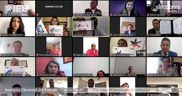 Firman partidos en Puebla por elecciones sin violencia de género