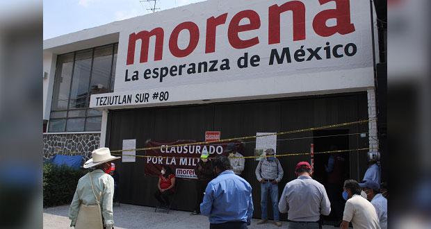 Irrumpen morenistas contras en sede del partido en Puebla; CEE denunciará