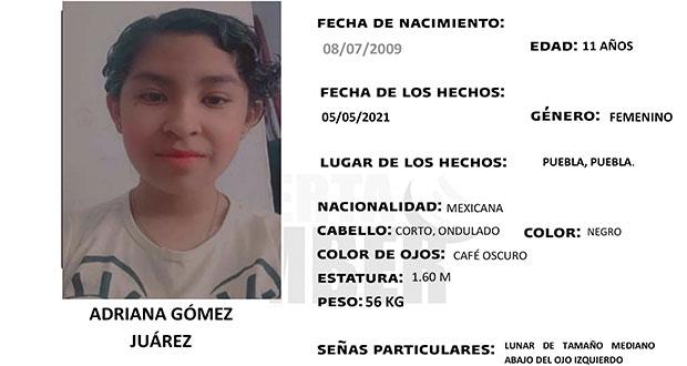 ¿Has visto a Adriana Gómez de 11 años? Activan alerta en Puebla