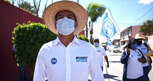 Tlatehui asegura que lo apoyan panistas y que su campaña es austera