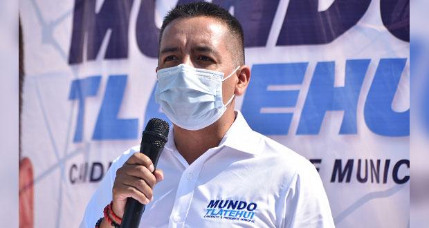 Tlatehui presenta 3 de 3 y reta a candidatos por San Andrés a hacerlo