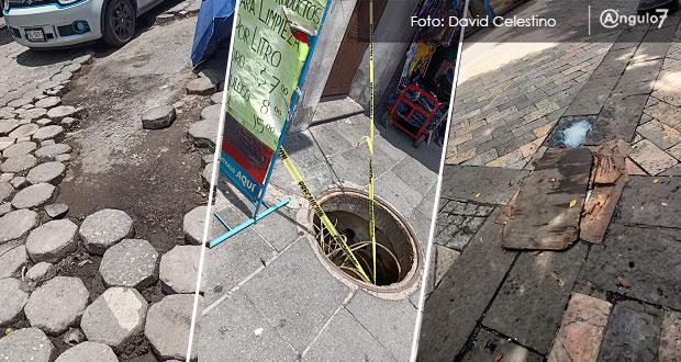 Agravan lluvias desperfectos en calle 5 de Mayo y laterales del CH