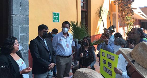 En protesta, exigen clausurar pozos profundos en San Andrés Cholula