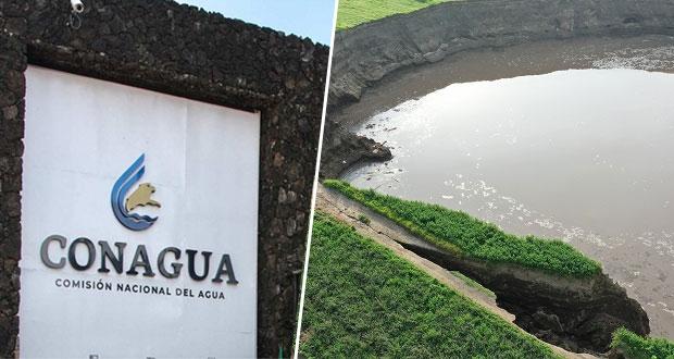 Socavón en Puebla se formó por proceso natural: Conagua