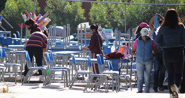 Previo a regreso a clases, jornada de limpieza en escuelas de Puebla