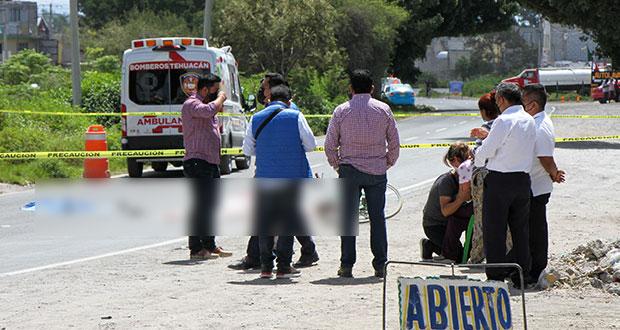 Muere joven ciclista en Tehuacán tras ser atropellada por camión