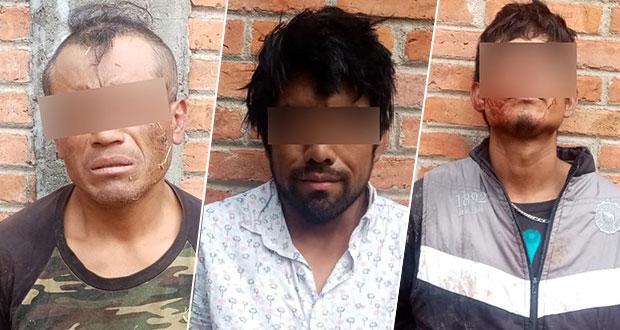 Policía Estatal detiene a tres hombres por robo a casa habitación