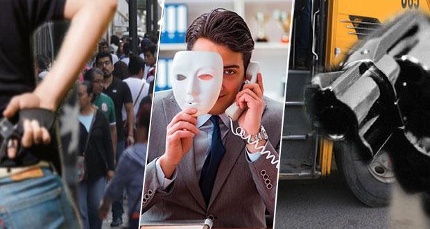 En Puebla, suben 100% fraudes, robos a transeúntes y en transporte colectivo