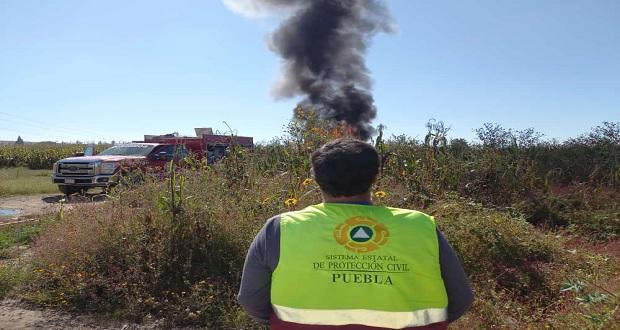 Por quema controlada en Texmelucan, evacúan a 12 familias